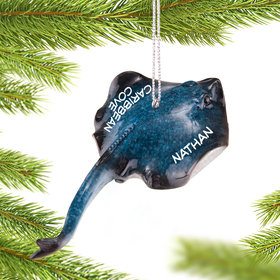 Personalized Swimming Stingray Christmas Ornament