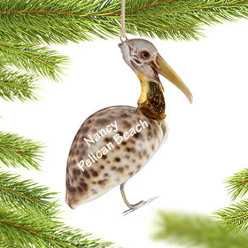 Personalized Cowry Shell Pelican Christmas Ornament