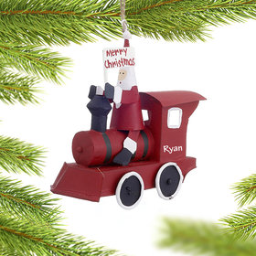 Personalized Santa in Train Christmas Ornament