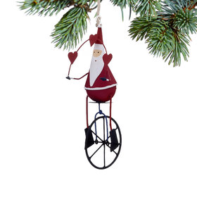 Santa on Unicycle with Hearts Christmas Ornament