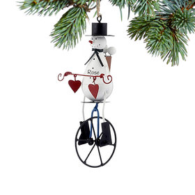 Personalized Snowman on Unicycle Christmas Ornament