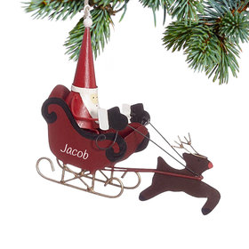 Personalized Santa in Sleigh with Reindeer Christmas Ornament