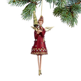 Angel Holding a Small Christmas Tree Christmas Ornament