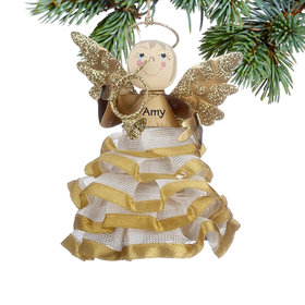 Personalized Angel in Gold Ruffled Skirt with Horn Christmas Ornament