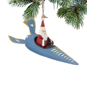 Santa in a Blue Rocket Ship Christmas Ornament