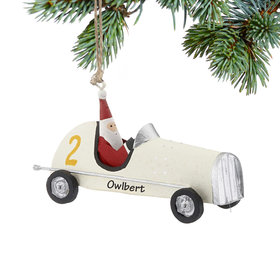 Personalized Santa in White Race Car Christmas Ornament
