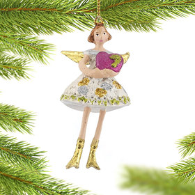 Angel with Heart Christmas Ornament