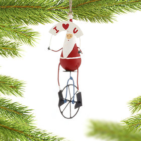 I Love U Santa on Unicycle Christmas Ornament