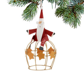 Personalized Santa on Globe with Stars Christmas Ornament