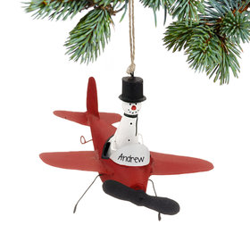 Personalized Snowman in Red Plane Christmas Ornament