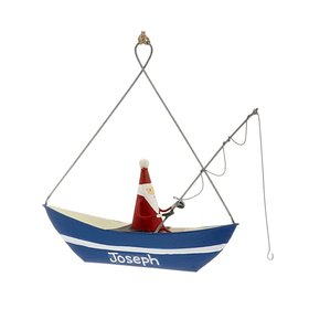 Personalized Santa in Blue Fishing Boat Christmas Ornament