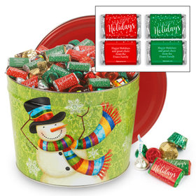 Personalized Scarf Snowman Happy Holidays Hershey's Mix Tin - 14 lb