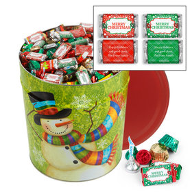Personalized Scarf Snowman Merry Christmas Hershey's Mix Tin - 20 lb
