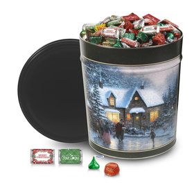 Personalized Skater's Pond Add Your Logo Merry Christmas Hershey's Mix Tin - 20 lb