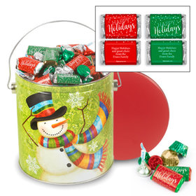 Personalized Scarf Snowman Happy Holidays Hershey's Mix Tin - 5 lb
