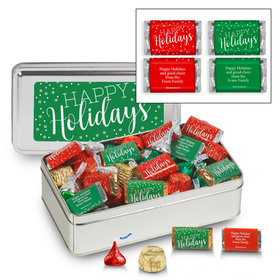 Personalized Sweet Silver Happy Holidays Hershey's Mix Tin - 1.5 lb
