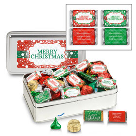 Personalized Sweet Silver Merry Christmas Hershey's Mix Tin - 1.5 lb