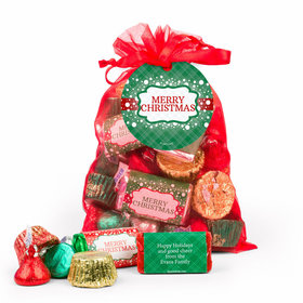 Personalized Merry Christmas Hershey's Mix in Red Organza Bag