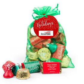 Personalized Happy Holidays Hershey's Mix in Emerald Green Organza Bag