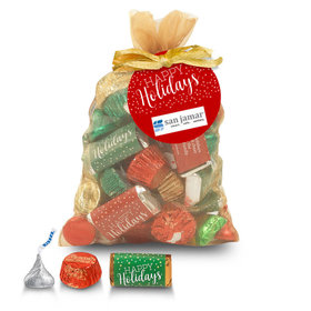 Personalized Happy Holidays Hershey's Mix in Gold Organza Bag