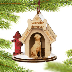 Labrador Retriever Doghouse Christmas Ornament