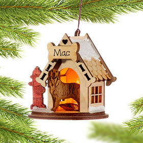 Personalized Golden Retriever Doghouse Christmas Ornament