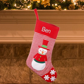 Personalized Red Striped Personalized Christmas Stocking (Red)