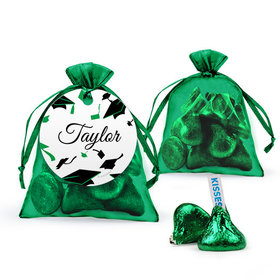 Personalized Green Graduation Favor Assembled Organza Bag with Hershey's Kisses