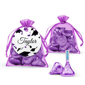 Personalized Purple Graduation Favor Assembled Organza Bag with Hershey's Kisses