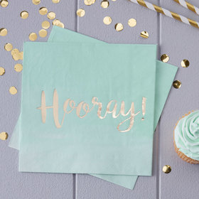 Mint Green Ombre Hooray! Napkins