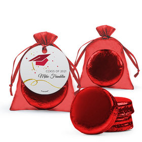 Personalized Red Graduation Favor Assembled Organza Bag Hang tag with Chocolate Covered Oreo Cookie