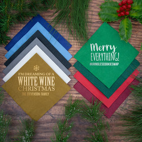 Personalized Christmas Metallic Angled 3-Ply Traditional Beverage Napkins