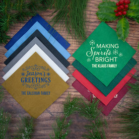 Personalized Christmas Angled 3-Ply Traditional Lunch Napkins