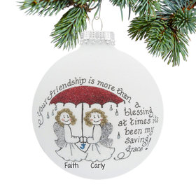 Personalized Friendship is my Saving Grace Christmas Ornament