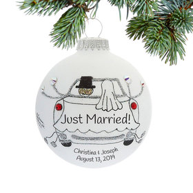 Personalized Just Married Car with Groom and Bride Christmas Ornament
