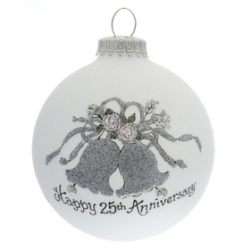 Happy 25th Anniversary Bells Christmas Ornament