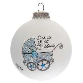 Personalized Baby's First Christmas Pram (Boy) Christmas Ornament