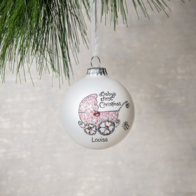 Personalized Baby's First Christmas Pram (Girl) Christmas Ornament