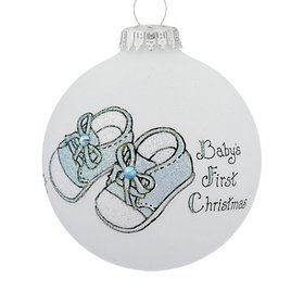 Baby Boy Booties Christmas Ornament