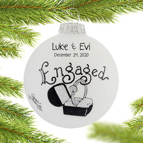 Personalized Engagement Diamond Ring in Black Box Christmas Ornament