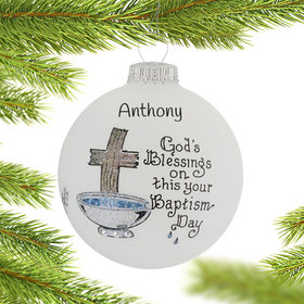 Personalized God's Blessings On This Your Baptism Day Christmas Ornament