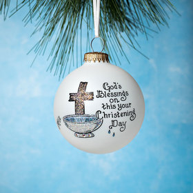 God's Blessings on this your Christening Day Christmas Ornament