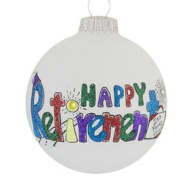 Happy Retirement Glittered Letters Christmas Ornament