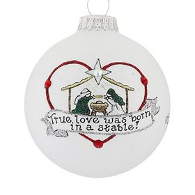 Personalized True Love Was Born in a Stable Christmas Ornament
