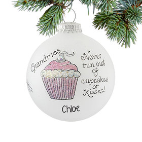 Personalized Grandmas Never Run Out of Cupcakes or Kisses Christmas Ornament
