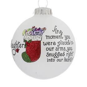 Daughter You Snuggled Right Into Our Hearts Christmas Ornament