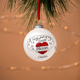 Personalized A Large Part of My Heart is in Heaven Christmas Ornament