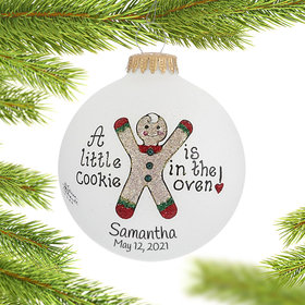Personalized A Little Cookie is in the Oven Christmas Ornament