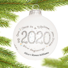 Personalized 2020 Silver Christmas Ornament