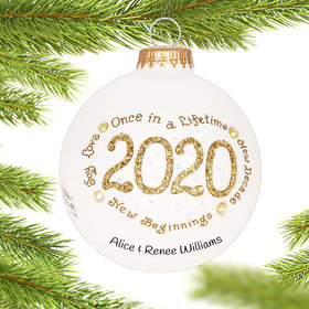 Personalized 2020 Gold Christmas Ornament